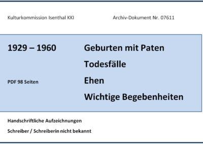 1929-1960 Geburten, Todesfälle, …