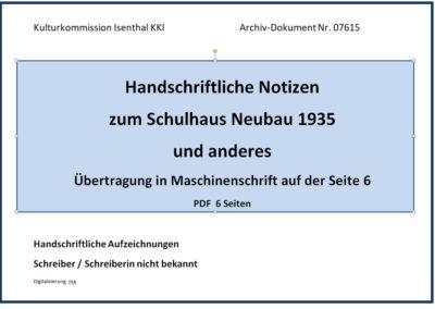 Notizen zm Schulhaus-Neubau 1935