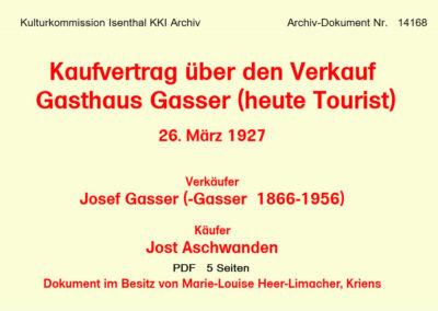 Kaufvertrag Gasthaus Gasser (heute Tourist) 1927