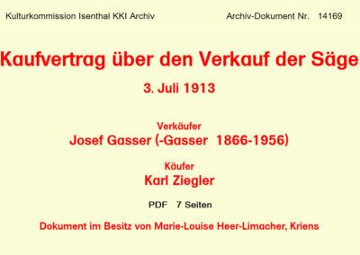 Kaufvertrag über den Verkauf der Säge 1913