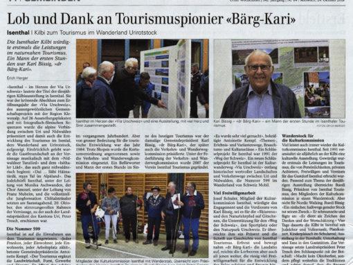 """Lob und Dank an Tourismuspionier """"Bärg-Kari"""""""