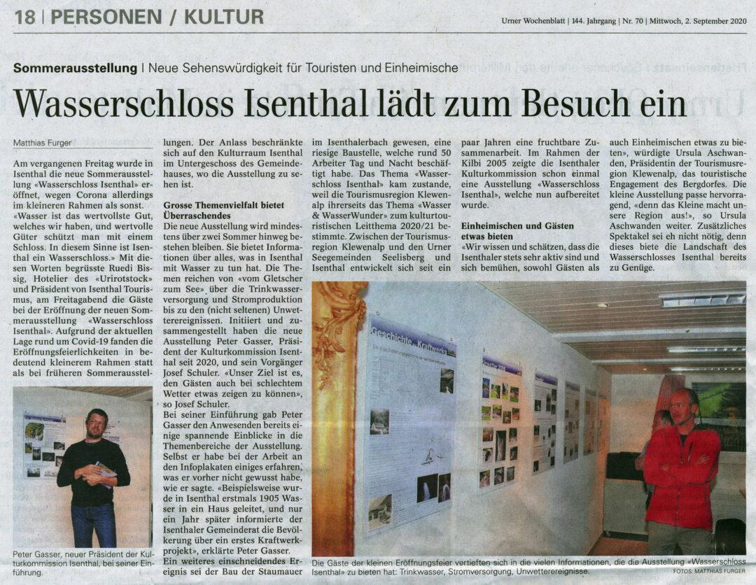 """Eröffnung der Ausstellung """"Wasserschloss Isenthal am 2.9.2020"""